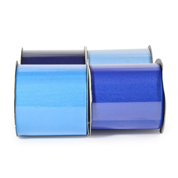 "LaRibbons 2 1/4"" Textured Grosgrain Ribbon Blues Spool Bundle 4 - 5 Yard Spools"
