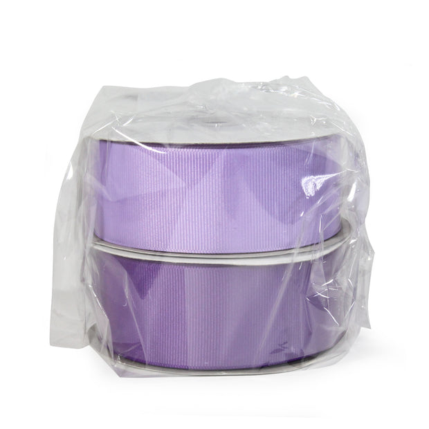 Two spool light orchid and purple color grosgrain ribbon bundle