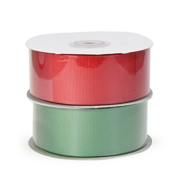Two spool red and green grosgrain ribbon bundle