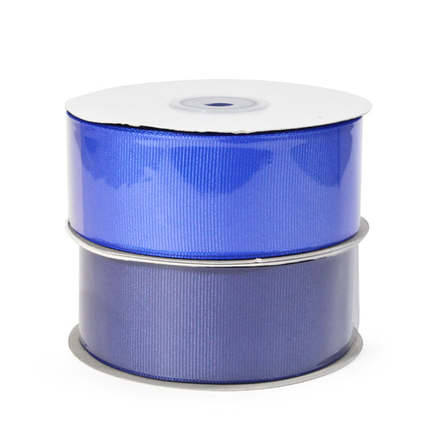 Two spool electric blue and dark blue color grosgrain ribbon bundle