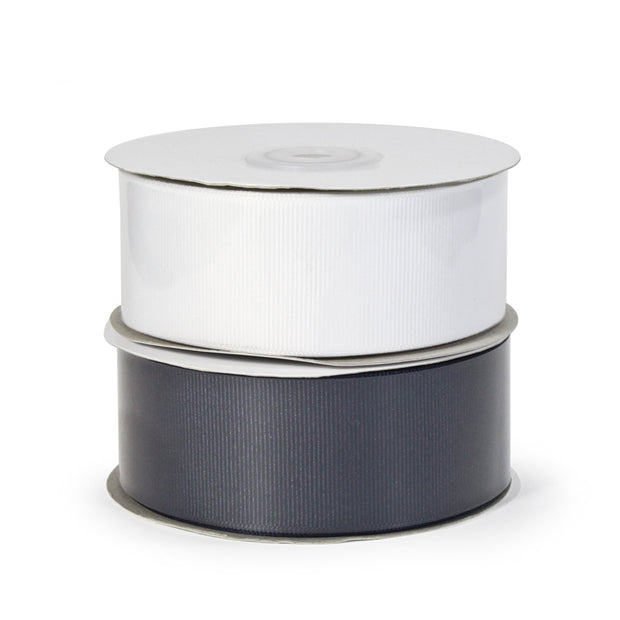 Two spool white and navy color grosgrain ribbon bundle