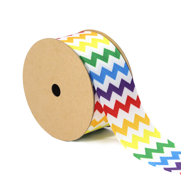 1 1/2 inch rainbow white chevron grosgrain ribbon