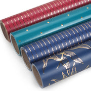 Collection of red, teal and dark blue metallic gold printed wrapping paper rolls