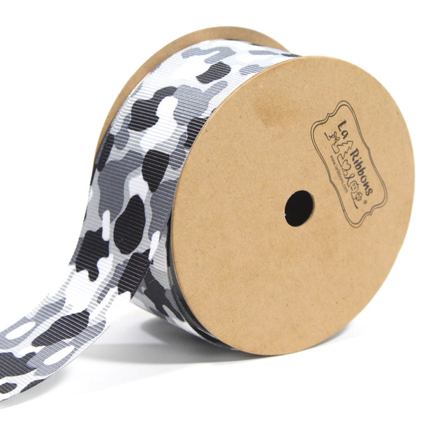 1 1/2 inch black and white camouflage ribbon