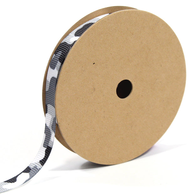3/8 inch black and white camouflage ribbon
