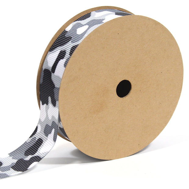 7/8 inch black and white camouflage ribbon