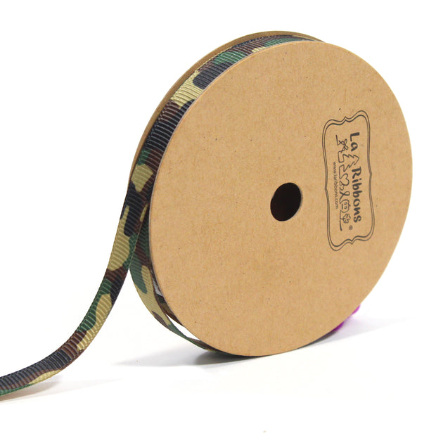 3/8 inch green camouflage ribbon