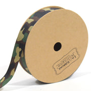 5/8 inch green camouflage ribbon