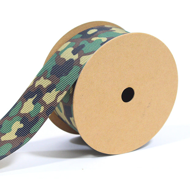 1 1/2 inch green camouflage ribbon