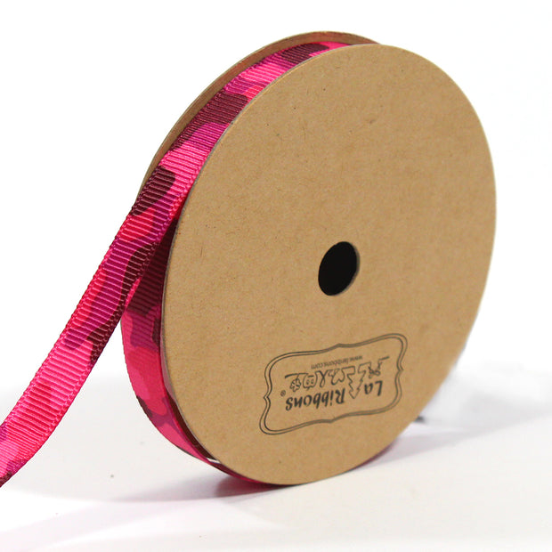 7/8 inch pink camouflage ribbon