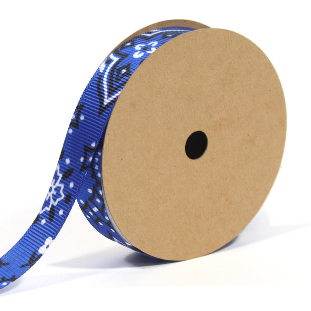 5/8 inch blue bandanna grosgrain ribbon