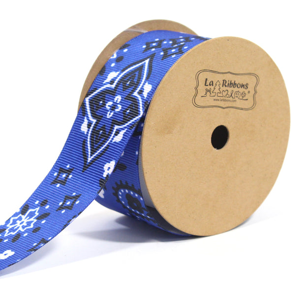 1 1/2 inch blue bandanna grosgrain ribbon