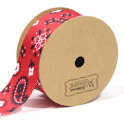 1 1/2 inch red bandanna grosgrain ribbon