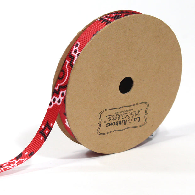 3/8 inch red bandanna grosgrain ribbon