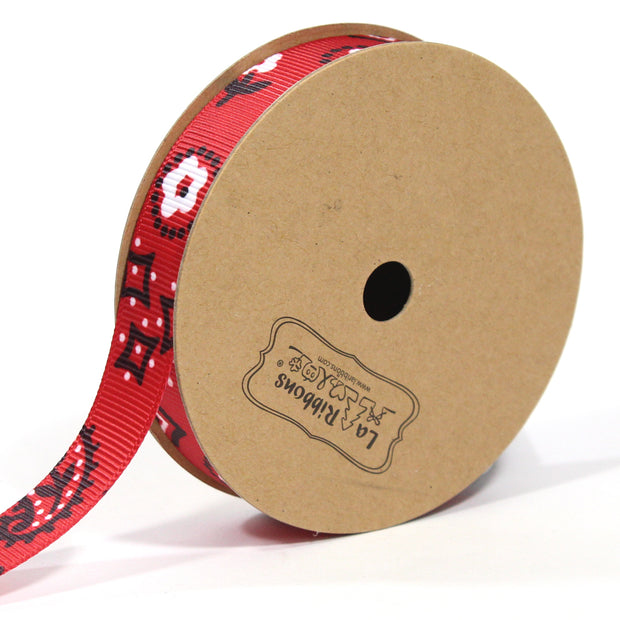 5/8 inch red bandanna grosgrain ribbon