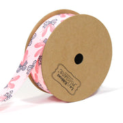 7/8 inch pink ballet slipper pattern ribbon