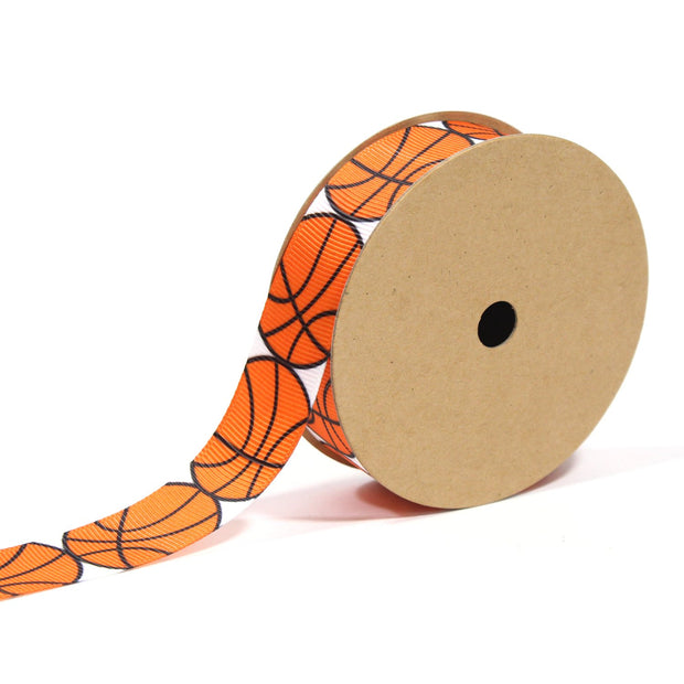7/8 inch basketball theme ribbon