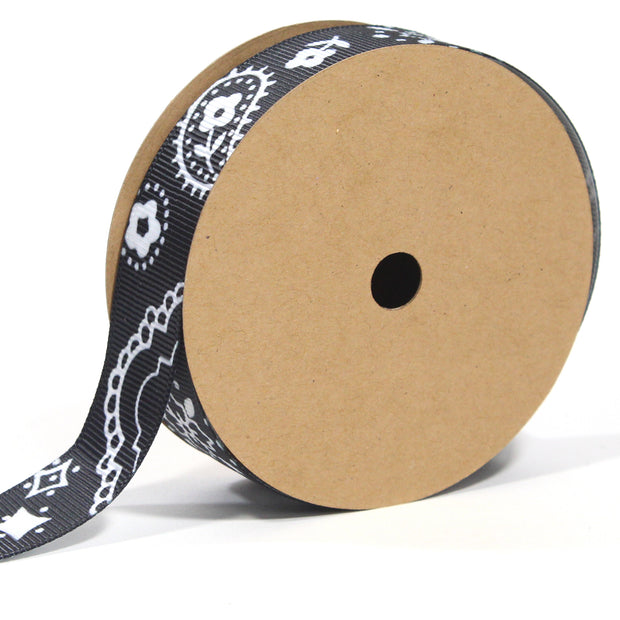 7/8 inch black bandanna grosgrain ribbon