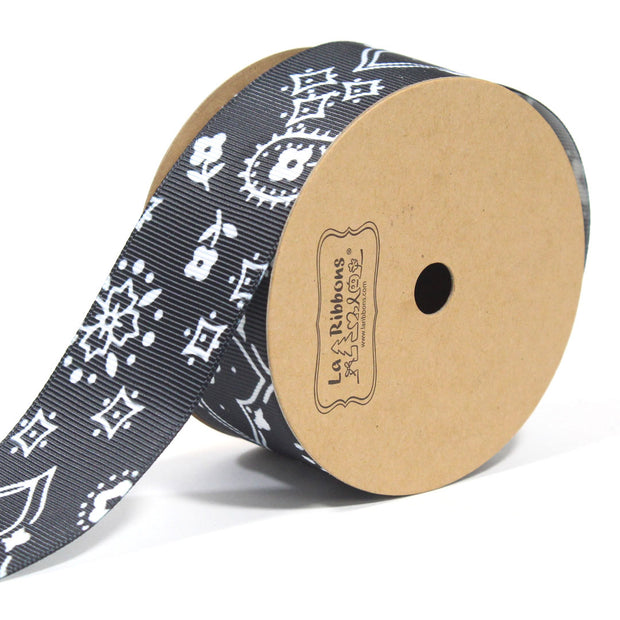 1 1/2 inch black bandanna grosgrain ribbon