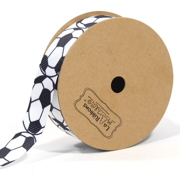 7/8 inch white and black soccer pattern ribbon