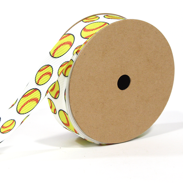 7/8 inch white and yellow softball printed grosgrain ribbon