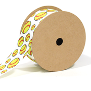 1 1/2 inch white and yellow softball printed grosgrain ribbon