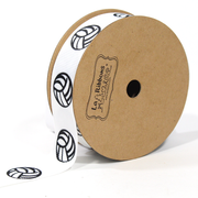 White volleyball print grosgrain ribbon