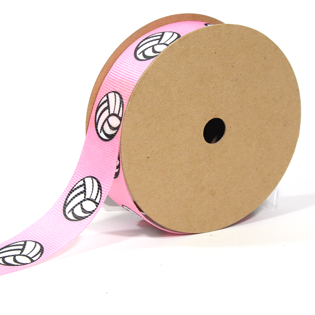 Pink volleyball print grosgrain ribbon