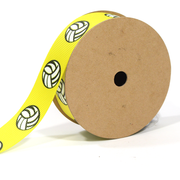 Yellow volleyball print grosgrain ribbon