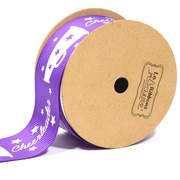 "1 1/2"" inch purple cheerleader theme grosgrain ribbon"