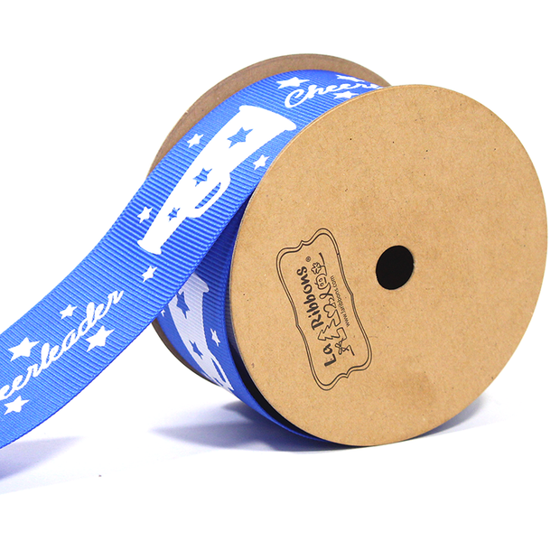 "1 1/2"" inch blue cheerleader theme grosgrain ribbon"