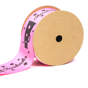 "1 1/2"" inch pink cheerleader theme grosgrain ribbon"