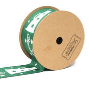 "1 1/2"" inch green cheerleader theme grosgrain ribbon"