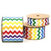 Rainbow Chevron Grosgrain Ribbon