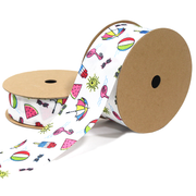 Pool Party Grosgrain Ribbon White Multicolor