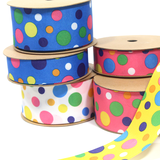 "7/8"" Dots Enough Grosgrain Ribbon"