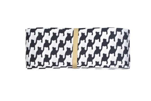1 1/2 inch black and white Houndstooth Grosgrain Ribbon