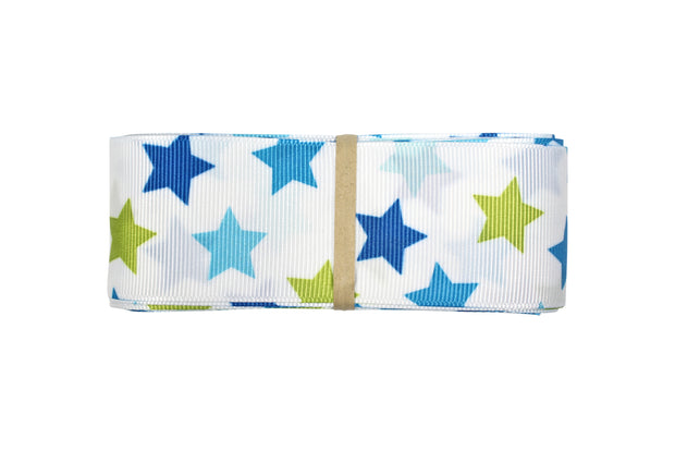 1 1/2 inch blue and green stars grosgrain ribbon