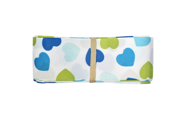 7/8 inch blue and green hearts grosgrain ribbon