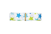 7/8 inch blue and green stars grosgrain ribbon