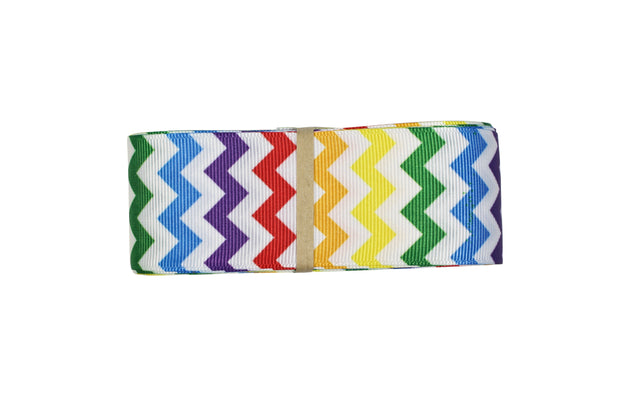 1 1/2 inch Rainbow and White Chevron Grosgrain Ribbon
