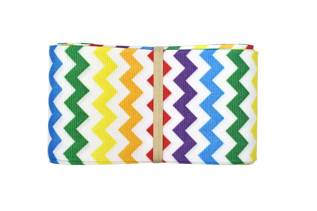 2 1/4 inch Rainbow and White Chevron Grosgrain Ribbon