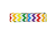 7/8 inch Rainbow and White Chevron Grosgrain Ribbon