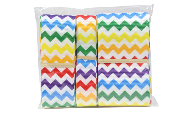 Rainbow and white chevron grosgrain ribbon bundle
