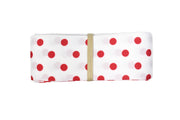 1 1/2 inch white and red mini polka dots grosgrain ribbon