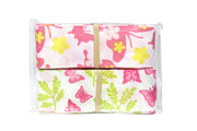 Pink and green butterfly print ribbon bundle
