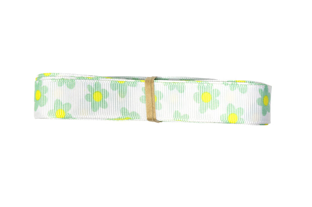 5/8 inch white and green grosgrain ribbon