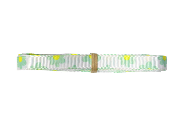 3/8 inch white and green grosgrain ribbon