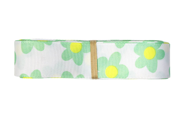 7/8 inch white and green grosgrain ribbon