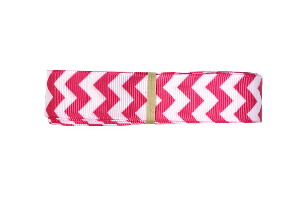 7/8 Inch Pink and White Chevron Grosgrain Ribbon